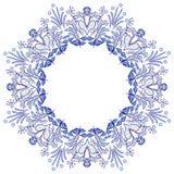 De ronde die stijl van het bloemkader gzhel op wit wordt geïsoleerd Blauw bloemenpatroon stock illustratie
