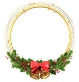 De ronde grens van het cirkelkader met Kerstmisdecoratie stock illustratie
