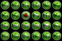 De ronde groene pictogrammen of de knopen van het Controlebord Stock Afbeeldingen