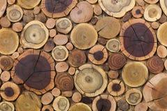 De ronde houten unpainted stevige natuurlijke ecologische zachte gekleurde bruine en gele stompenachtergrond, Boom sneed secties  royalty-vrije stock afbeelding
