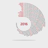 de ronde kalender van 2016 - malplaatje Stock Afbeeldingen