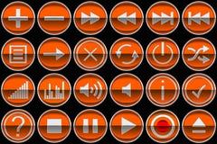 De ronde oranje pictogrammen of de knopen van het Controlebord Stock Afbeelding