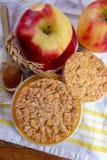 De ronde rijstcrackers maakten met appel en kaneel, gezonde snack voor ontbijt, lunch en schoolvoedsel stock foto's