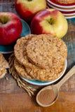 De ronde rijstcrackers maakten met appel en kaneel, gezonde snack voor ontbijt, lunch en schoolvoedsel royalty-vrije stock fotografie