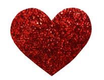 De ronde schittert rood lovertje in hartvorm stock foto's