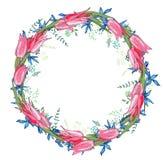 De ronde slinger met de lente bloeit tulpen en en kleine blauwe bloemen stock illustratie