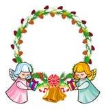 De ronde vakantieslinger met ornamenten en de engelen brengen voorstellen vector illustratie