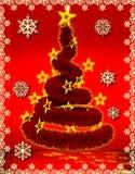De rood achtergrond van Kerstmis en boombont royalty-vrije illustratie