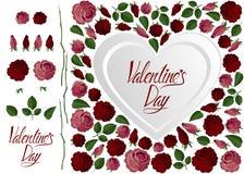De rood en roze rozen van de liefdekaart, hart en het van letters voorzien vector illustratie