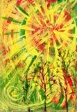 De rood-gele zon. Een kunstbeeld Royalty-vrije Stock Fotografie