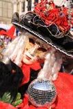 De rood-Zwarte van het Masker van Carneval van Venecian Stock Fotografie
