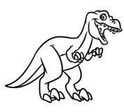 De roofzuchtige kleurende pagina's van de dinosaurus tyrannosaur Juraperiode Stock Foto