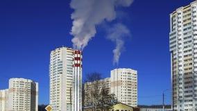 de rook van de fabriekspijp stock footage