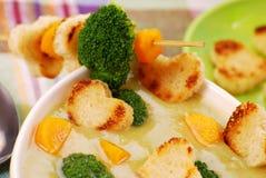 De roomsoep van broccoli Stock Afbeelding