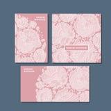 De rooskleurige geplaatste kaarten van de kleuren decoratieve groet Royalty-vrije Stock Foto