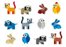 De rooster naïeve karikatuur van dieren Stock Afbeeldingen