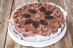 De roosterende cake van het chocoladeschuimgebakje met noten en room Royalty-vrije Stock Fotografie