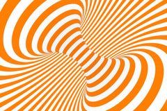 De roosterillustratie van de torus 3D optische illusie Hypnotic wit en oranje buisbeeld Contrast die lijnen, strepenornament verd vector illustratie