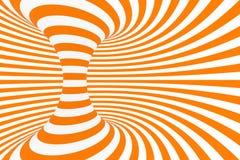De roosterillustratie van de torus 3D optische illusie Hypnotic wit en oranje buisbeeld Contrast die lijnen, strepenornament verd royalty-vrije illustratie