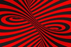 De roosterillustratie van de torus 3D optische illusie Hypnotic zwart en rood buisbeeld Contrast die lijnen, strepenornament verd royalty-vrije illustratie