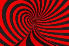 De roosterillustratie van de torus 3D optische illusie Hypnotic zwart en rood buisbeeld Contrast die lijnen, strepenornament verd stock illustratie