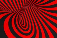 De roosterillustratie van de torus 3D optische illusie Hypnotic zwart en rood buisbeeld Contrast die lijnen, strepenornament verd vector illustratie