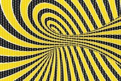 De roosterillustratie van de torus optische 3D illusie Het verdraaien van lijnen en vlekkenpatroon Oneindigheidseffect hypnotic b vector illustratie