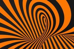 De roosterillustratie van de tunnel optische 3D illusie De achtergrond van contrastlijnen Hypnotic strepenornament Psychedelisch, royalty-vrije illustratie
