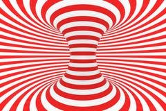 De roosterillustratie van de wervelings optische 3D illusie Contrast rode en witte spiraalvormige strepen Geometrisch torusbeeld  royalty-vrije illustratie