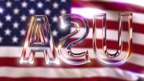 De roterende titel van de glasv.s. tegen golvende Amerikaanse vlag stock videobeelden