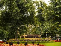 De rotonde in Harrogate die is een toeristenbestemming en zijn bezoekeraantrekkelijkheden omvat zijn kuuroordwateren stock foto's