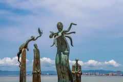 De Rotonde van Overzeese sculputers in Puerto Vallarta in Mexic stock afbeelding