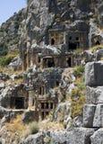 De rots-Besnoeiing van Lycian graven in Myra royalty-vrije stock afbeelding