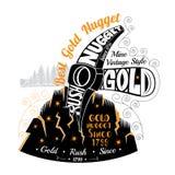 De rots van de oogstverbrijzeling met goldmine Van letters voorziend beste gouden goudklompje Stock Afbeeldingen