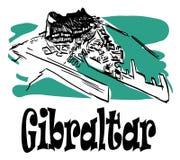 De Rots van Gibraltar met titel vector illustratie
