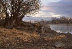 De rotsachtige bank van de Ob-Rivier in de herfst dichtbij Novosibirsk stock fotografie
