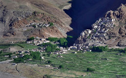 De rotsachtige Boeddhistische stad van Karcha-Klooster in Zanskar: de oude witte gonggebouwen worden gevestigd op een steile hell Stock Foto's