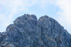 de rotsachtige mening van het berg piekgebied in Slowakije - de wijnoogst ziet eruit Royalty-vrije Stock Fotografie