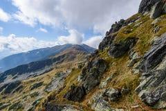 de rotsachtige mening van het berg piekgebied in Slowakije - de wijnoogst ziet eruit Royalty-vrije Stock Afbeeldingen