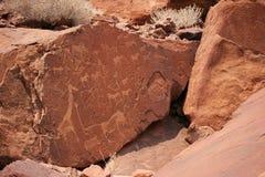 De rotsart. van Twyelfontein Stock Afbeeldingen