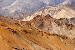 De rotsen en de stenen, bergen, ladakh modelleren Leh, Jammu & Kashmir, India Stock Afbeeldingen