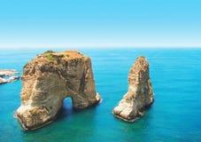 De Rotsen van de duif, Beiroet, Libanon Stock Fotografie