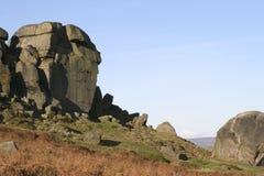 De Rotsen van de koe en van het Kalf, Ilkley leggen, West-Yorkshire vast Royalty-vrije Stock Foto