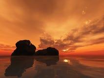 De Rotsen van de zonsondergang Stock Foto's