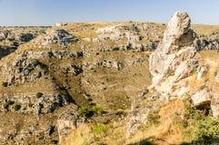 De rotsen van Matera Stock Foto