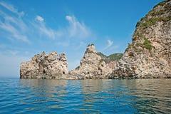 De rotsenvorming dichtbij Paleokastritsa, Korfu, Griekenland Stock Fotografie