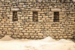 De rotsmuur van Machupicchu, Cusco, Peru, Zuid-Amerika Royalty-vrije Stock Foto