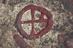 De rotsschilderijen van de rotstekening Stock Foto's