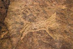 De Rotstekening op tamgaly-Tas, Kazachstan Royalty-vrije Stock Afbeeldingen