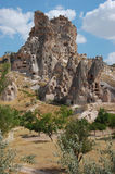 De rotsvormingen van Cappadocia Stock Afbeeldingen